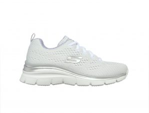 Skechers – SKECH-KNIT LACE-UP WEDGE W/ AIR-COOLED MEMORY FOAM – ΛΕΥΚΟ-ΓΚΡΙ