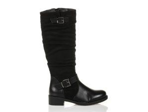 Μπότες μαύρες σουέτ και δερματίνη με διπλή αγκράφα ΜΑΥΡΟ
