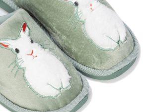 Παντόφλες πράσινες σουέτ με λευκό γούνα λαγουδάκι ΠΡΑΣΙΝΟ