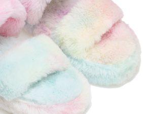Παντόφλες πολύχρωμες γούνινες με διπλή φάσα και λάστιχο ΠΟΛΥΧΡΩΜΟ