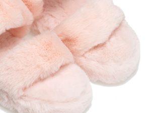 Παντόφλες ροζ γούνινες με διπλή φάσα και λάστιχο ΡΟΖ
