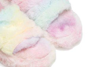 Παντόφλες πολύχρωμες γούνινες με λάστιχο ΠΟΛΥΧΡΩΜΟ