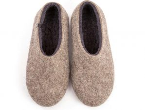 Grey felt slippers DUAL NATURAL anthracite