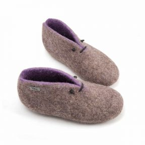 Wool Booties in grey and lilac