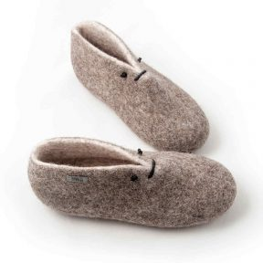 Slipper booties in grey and white