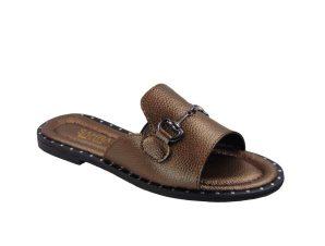 Tsimpolis Shoes T013 Παντόφλα Από Τεχνόδερμα Μπρονζέ