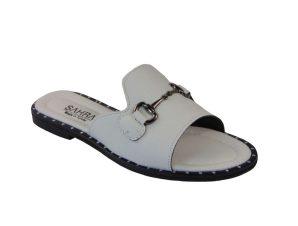 Tsimpolis Shoes T013 Παντόφλα Από Τεχνόδερμα Λευκή