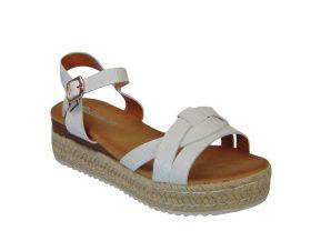 Tsimpolis Shoes Η60076 Γυναικείο Πέδιλο Από Τεχνόδερμα Λευκό