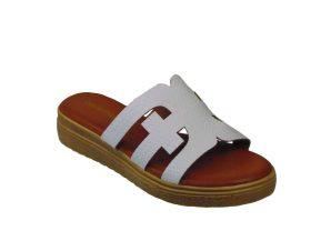 Tsimpolis Shoes ML132 Γυναικεία Παντόφλα Από Τεχνόδερμα Λευκή