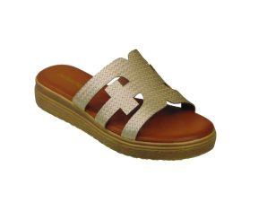 Tsimpolis Shoes ML132 Γυναικεία Παντόφλα Από Τεχνόδερμα Χρυσή