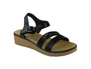 Tsimpolis Shoes Q6105 Γυναικείο Πέδιλο Από Τεχνόδερμα Μαύρο