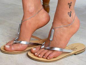 Δερμάτινη χειροποίητη σαγιονάρα flip flop silver