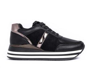 Γυναικεία μαύρα sneakers με συνδυασμό υλικών