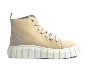 Γυναικεία μπεζ ψηλά sneakers