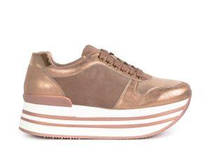 Γυναικεία ροζ sneakers με πλατφόρμα και συνδυασμό υλικών