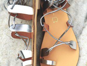 Δερμάτινο χειροποίητο σανδάλι 'Lace it up' Silver