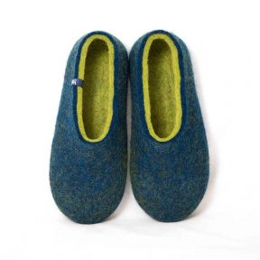 Wool slippers DUAL BLUE navy lime